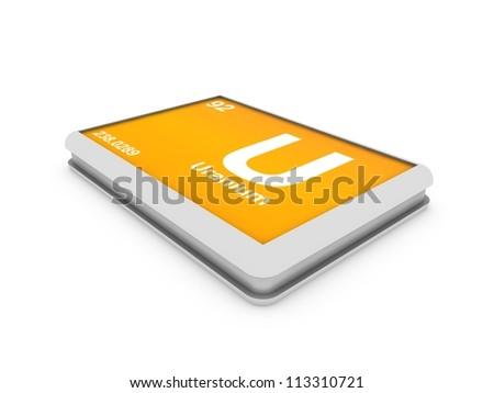 Uranium  chemical element button