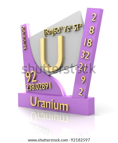 Uranium form Periodic Table of Elements - 3d made