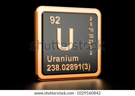 Uranium U, chemical element. 3D rendering isolated on black background Zdjęcia stock ©