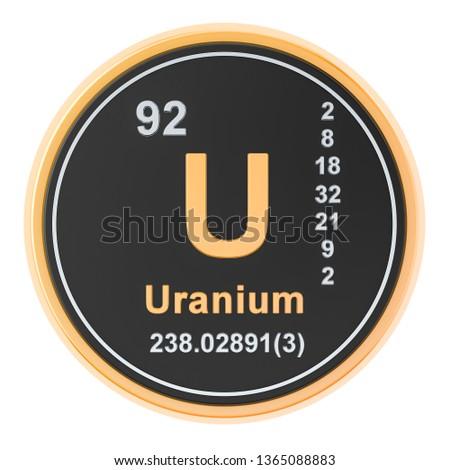 Uranium U chemical element. 3D rendering isolated on white background Zdjęcia stock ©