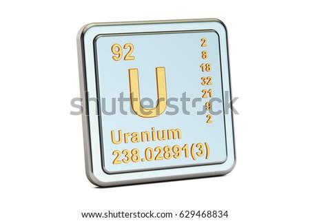 Uranium U, chemical element sign. 3D rendering isolated on white background Zdjęcia stock ©