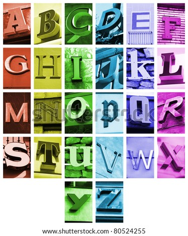 Urban ABC - alphabet collage. Colorful letters font from urban buildings.