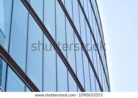 Urban abstract background, detail of modern glass facade, office business building. #1090633355