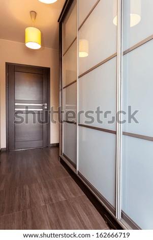 Urban apartment - door in corridor and huge wardrobe