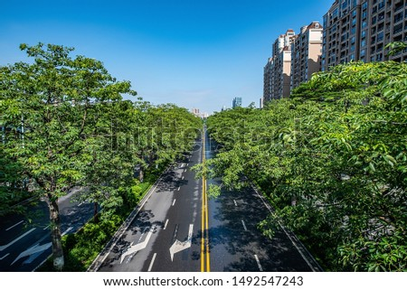 Urban architecture and urban traffic highway in Foshan Guangdong China