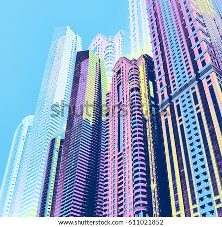 Urban architecture digital art collage. Skyscrapers digital collage in comics style