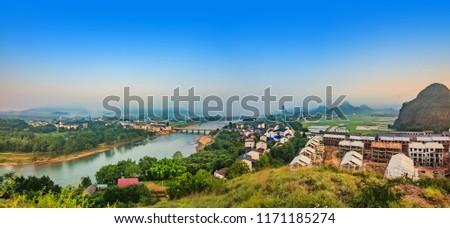 Urban architecture landscape of the Bund River Bund, Longhu Mountain, Yingtan City, Jiangxi Province #1171185274