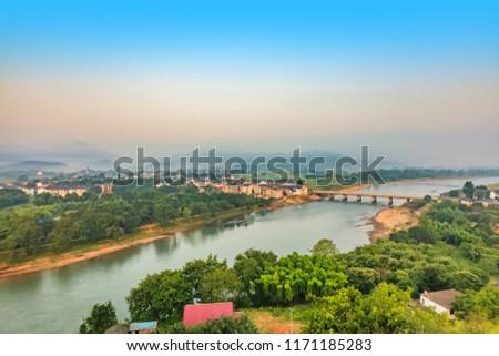 Urban architecture landscape of the Bund River Bund, Longhu Mountain, Yingtan City, Jiangxi Province #1171185283