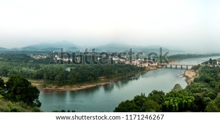 Urban architecture landscape of the Bund River Bund, Longhu Mountain, Yingtan City, Jiangxi Province #1171246267