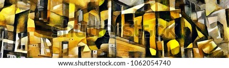 Urban architecture. Panoramic abstraction in the style of cubism. The picture is made by oil on canvas with elements of acrylic painting.