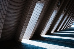 urban architecture tunnel , triangle shape   corridor -