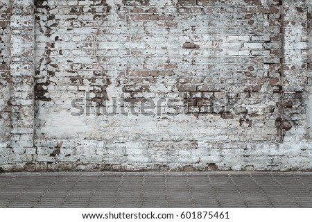 Urban background, white ruined industrial brick wall with copy space #601875461