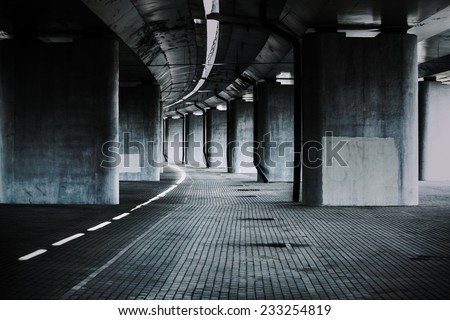 Urban background with big road bridge. Dark contrast colors.