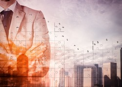 Urban background with businessman in authority position