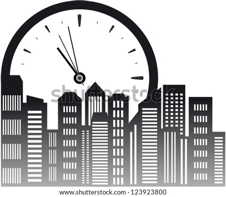 urban background with clock and skyscraper