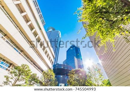 Urban building groups and trees #745504993