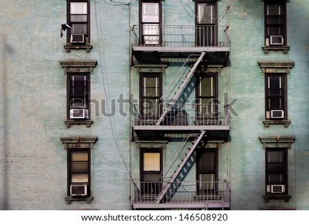 Urban Building Wall Texture with windows and Fire Escape