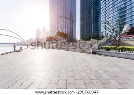 urban building with cement floor road