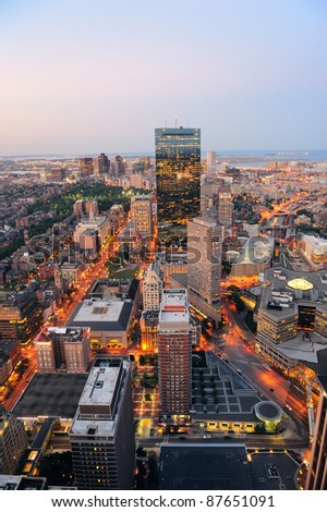 Urban city aerial view. Boston aerial view with skyscrapers at sunset with city downtown skyline. - stock photo