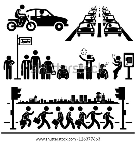 Urban City Life Metropolitan Hectic Street Traffic Busy Rush Hour People Man Stick Figure Pictogram Icon