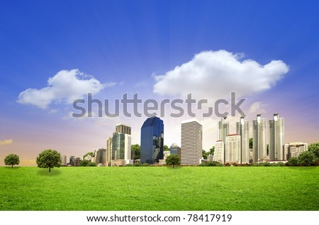 Urban City Skyline in the morning with space - stock photo