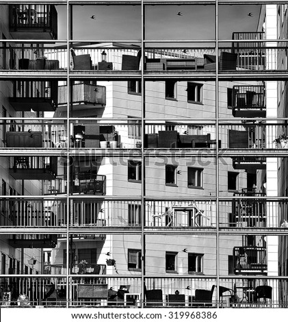 Urban city view, urban construction, architecture details and fragment in black and white, architecture fragment in black and white photo, architecture detail close up. Futuristic. Windows