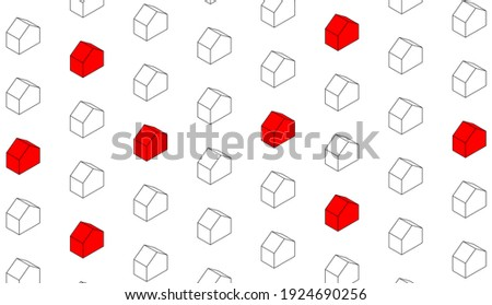 urban city with set of houses arranged in a schematic way with linear elements and buildings in 3D three-dimensional perspective, some houses are highlighted in red. Photo stock ©