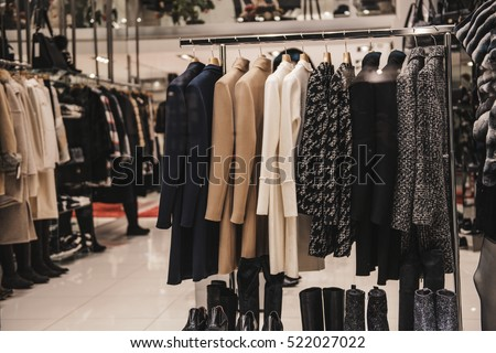 Jackets displayed on a store rack