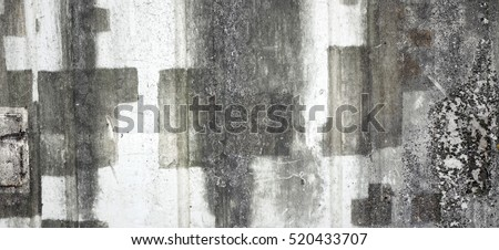 Urban Concrete Brick Wall With Abstract Painted Blank Banner Background. Street Graffiti Wall Texture With Empty Surface For Creative Art Work. Outdoor Grafitti Town Wall Surface With Copy Space.