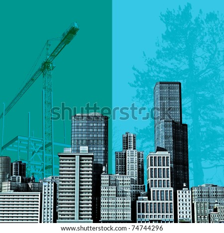 Urban Construction, Sky line based on a 3D render against a construction/countryside background