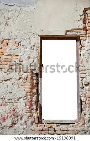 urban decay white isolated window frame template with copy space - ideal for image insertion