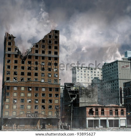 urban destruction  illustration ...