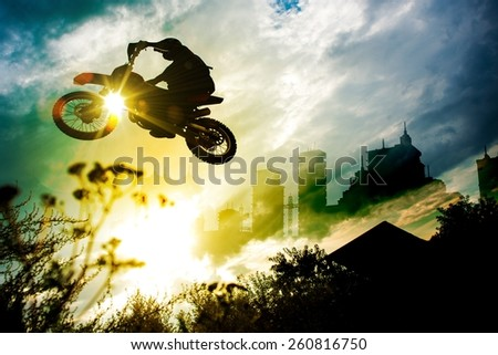 Urban Dirt Bike Jump. Motocross Concept Illustration with Abstract Background with the City Skyline.