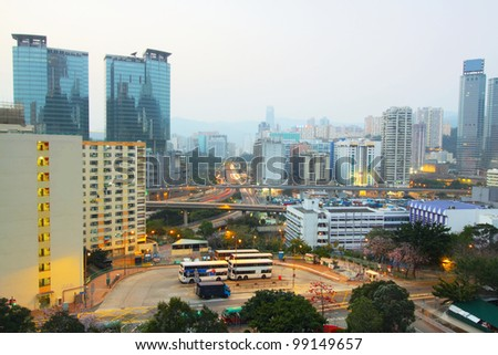 urban downtown night, hong kong - stock photo