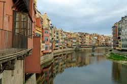 Urban environment with river Ter in Spain Barcelona Europe.