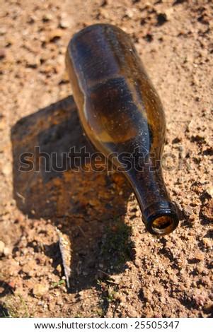 Urban garbage un-recycled bottle