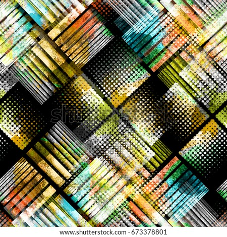 Urban geometric seamless pattern. Camouflage background. Camo textile print with watercolor effect. Colorful fabric swatch. Dotted wallpaper