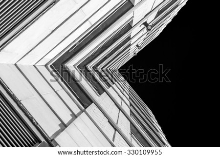 royalty free urban geometry looking up to building 330109952 stock photo. Black Bedroom Furniture Sets. Home Design Ideas