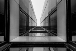 Urban Geometry, looking up to glass building. Modern architecture, glass and steel. Abstract architectural design. Inspirational, artistic image. Industrial design. .Modern building. Black and white.