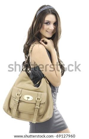 Urban girl with modern bag.