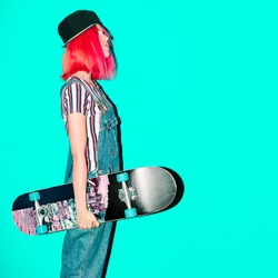 Urban Girl with skateboard Fancy pink hair style