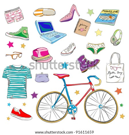 urban hipster accessories, smart colored doodles isolated on white
