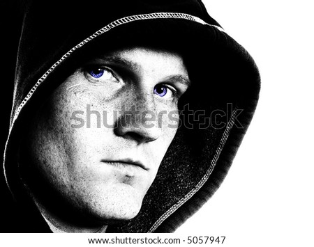 Urban hooded man
