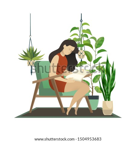 Urban jungle. Woman reading and knitting lady under home tropic green palm and hanging decor pot plant flat illustration