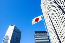 Urban landscape in Tokyo, buildings in Shinjuku, Japan flag,.