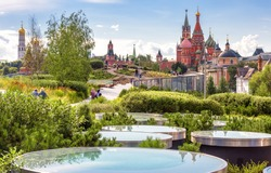 Urban landscape of Moscow, Russia. Landscaped design in Zaryadye Park near Moscow Kremlin, beautiful scenic view of Moscow city center in summer. This place is tourist attraction of Moscow.
