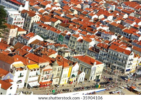 Urban landscape of Nazare, Portugal.