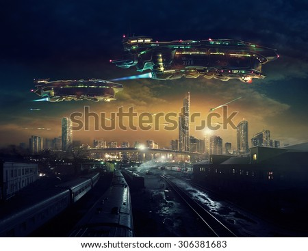 Urban landscape of post apocalyptic future with flying spaceships.  \ Life after a global war. Digital art.