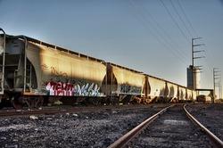 Urban landscape photo of train cargo with graffiti.