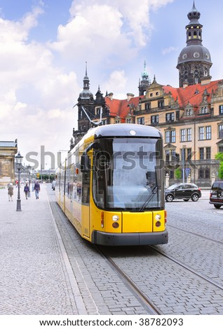 Urban life of Dresden,  Germany . Speed Tram